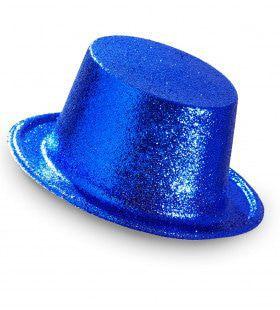 Showmaster Glitter Hoge Hoed, Blauw