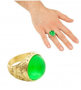Dikke Gouden Ring Met Groene Steen