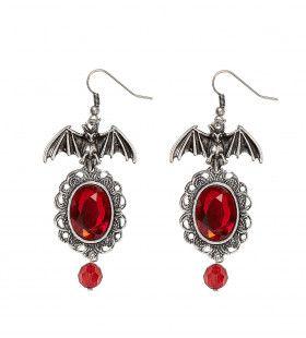 Halloween Accessoire Vleermuis Oorringen Met Rode Steen