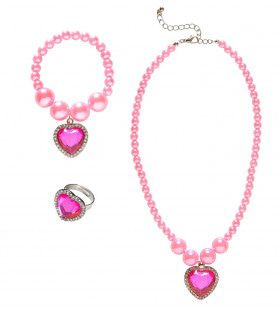 Prinses Ketting, Armband, Ring Strass Hart Roze