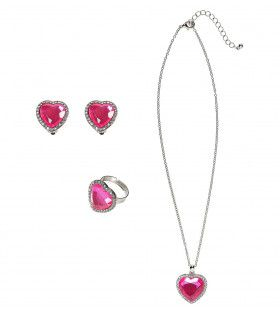 Prinses Ketting, Oorbellen, Armband Strass Rose