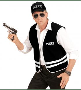Zwart Politievest Met Cap, Volwassen