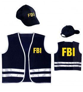 Zwart Fbi Vest Met Cap, Kind