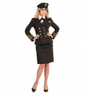 Keurige Marine Officier Vrouw Kostuum