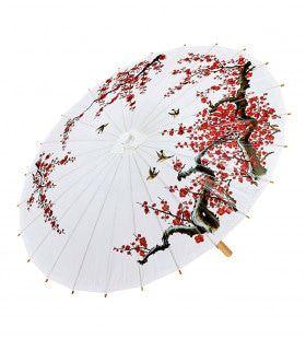 Hanzou Oosterse Paraplu Rijstpapier, Wit Kostuum