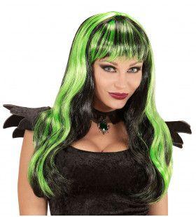 Lange Pruik, Halloween Zwart / Groen