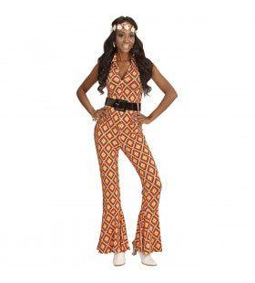 Groovy Geralda 70s Dames Jumpsuit, Ruit Vrouw Kostuum