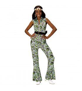 Groovy Geralda 70s Dames Groen Blauwe Jumpsuit, Golven Vrouw Kostuum