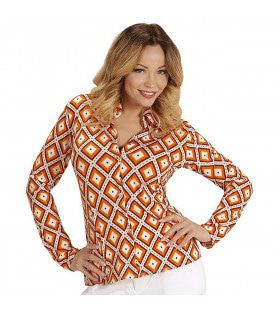 Groovy Gina 70s Dames Shirt, Ruit Vrouw