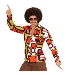 Groovy Garry 70s Oranje Heren Shirt, Buizen Man