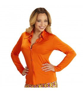 Groovy Gina 70s Dames Shirt, Oranje Vrouw