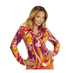 Groovy Gina 70s Dames Shirt, Orchidee