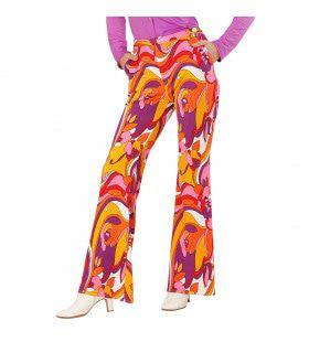 Groovy Gwendolyn 70s Dames Broek, Orchidee Vrouw