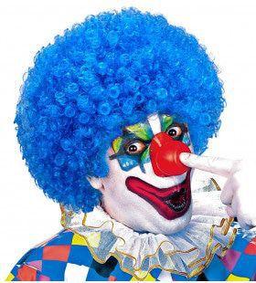 Afro Clownpruik Krullen, Licht Blauw