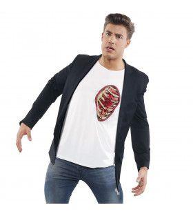 T-Shirt Met 3d Ribbenkast En Hart Man