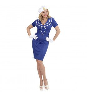 Blauw Als De Zee Matroos Meisje Vrouw Kostuum