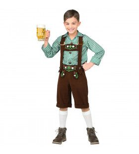 Bruine Lederhosen Met Shirt Jong Geleerd Bierfeest Jongen Kostuum