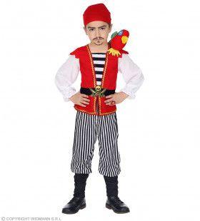 Piraat Met Papegaai Jongen Kostuum