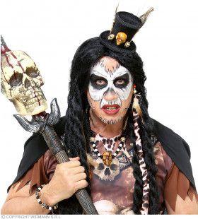 Voodoo Priester Set Hoed, Ketting, Armband