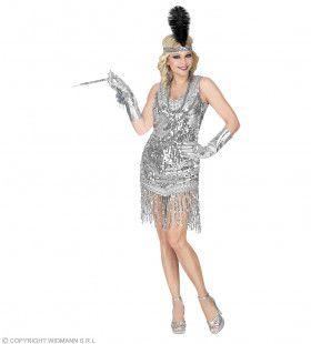 Zilveren Jaren 20 Flapper Vrouw Kostuum