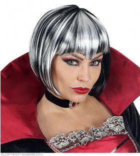 Zwart Witte Bebop Vampier Pruik