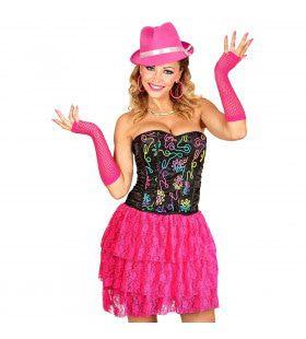 Neon Roze Kanten Disco Rok Vrouw