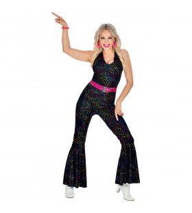 Zwarte Disco Glitter 70s Jumpsuit Vrouw Kostuum