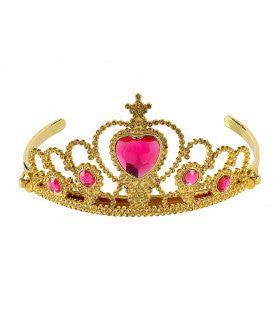 Gouden Tiara Met Roze Steentjes Prinses