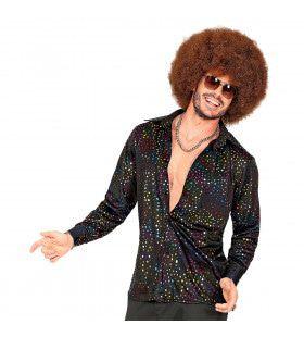 Groovy Style Disco Zwarte Stippen Shirt 70s Man