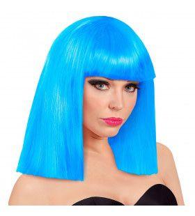 Pruik Showgirl Steil Haar Hemelsblauw