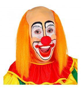 Kale Schedel Met Lang Oranje Haar Clown