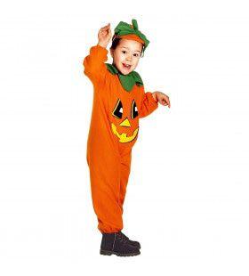 Kleine Oranje Grijnzende Pompoen Kind Kostuum