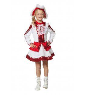 Fancy Rood Witte Dansmarieke Meisje Kostuum
