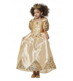 Chique Koningin Goud Meisje Kostuum