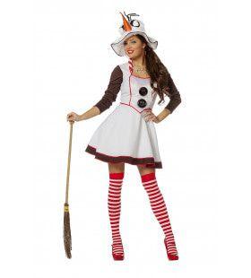 Sjieke Sneeuwpop Vrouw Kostuum