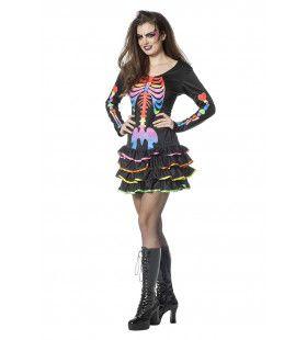 Funky Skelet Rainbow Vrouw Kostuum