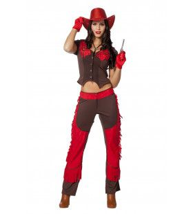 Cowgirl Chaps Red Devil Vrouw Kostuum