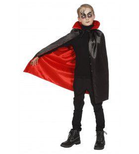 Dracula Cape Met Kraag Zwart / Rood
