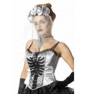 Korset Zilver Met Skelet Print En Spinnenwebben Vrouw