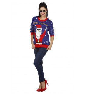 Kersttrui Blauw Rocking Santa