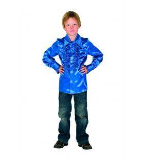 Blauw Bink Disco Blouse Met Ruches