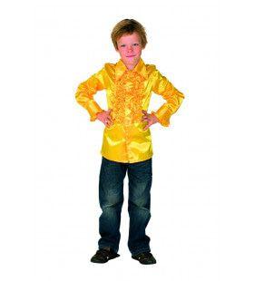 Opvallend Gele Disco Ruches Blouse