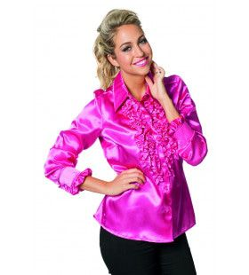 Daverende Disco Blouse Met Ruches Roze Vrouw