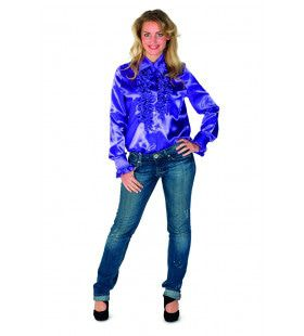 Pimpelpaarse Ruches Blouse Disco Dancing Vrouw