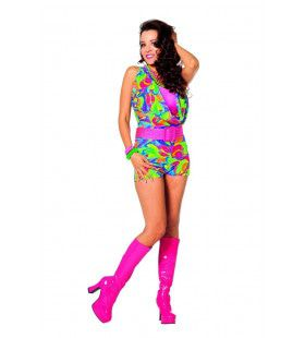 Boogie All Night Disco Jumpsuit Kort Vrouw Kostuum