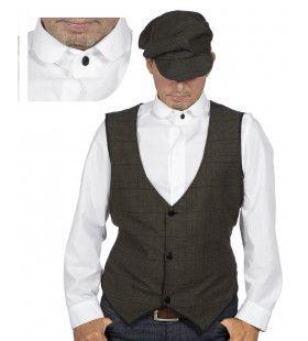 Roaring 20s Wit Overhemd Met Stijve Boord Man