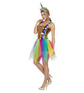 Glinsterend Regenboog Festival Vrouw Kostuum