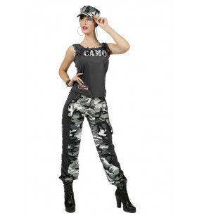 Paramilitair Camouflage Carmen Grijs Dameskostuum Vrouw Kostuum