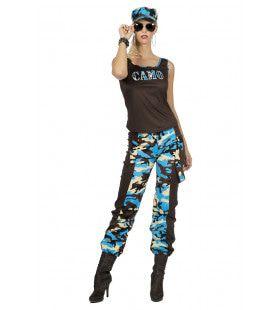 Paramilitair Camo Carmen Blauw Vrouw Kostuum