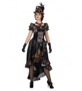 Zwart Glanzend Steampunk Met Tandwielen Vrouw Kostuum